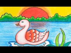Drawing Images For Kids, Nature Drawing For Kids, Basic Drawing For Kids, Easy Art For Kids, Easy Drawings For Kids, Drawing For Beginners, Painting For Kids, Drawing Sunset, Drawing Scenery