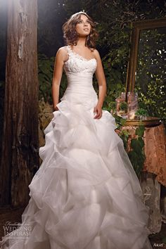 akay bridal 2013 one shoulder strap romantic ball gown pick up skirt front