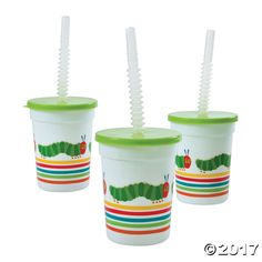 Sip in style during your Eric Carle themed bash! These tumblers are perfect birthday party favors and help prevent messy spills and splashes. Each includes a . 1 Year Old Birthday Party, Birthday Cup, Birthday Party Games, Birthday Ideas, Birthday Banners, Farm Birthday, Birthday Invitations, Water Birthday, Third Birthday