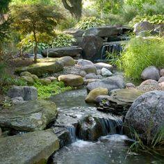 The Best Stone Waterfalls Backyard Ideas – Pool Landscape Ideas Koi Pond Design, Landscape Design, Pond Construction, Building A Pond, Waterfall Features, Pond Waterfall, Backyard Water Feature, Water Garden, Garden Stream