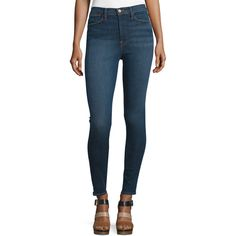 FRAME DENIM Ali High-Waist Skinny Jeans ($239) ❤ liked on Polyvore featuring jeans, holzmann, cropped flare jeans, high waisted jeans, high-waisted jeans, skinny bootcut jeans and high-waisted skinny jeans