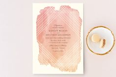 """""""Masked Wash"""" - Modern, Abstract Wedding Invitation Petite Cards in Passion Fruit by Rebecca Bowen. Wedding Reception Invitations, Wedding Stationary, Invites, Invitation Ideas, Beautiful Wedding Venues, Holiday Photo Cards, Save The Date Cards, Summer Wedding, Chic Wedding"""