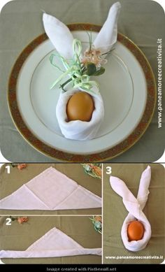 Folded napkin in bunny tutorial! Add a drop of Douglas Fir essential oil to the napkin for a clean, woodsy, Spring scent!
