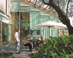 The glazed roof of Renzo Piano's studio