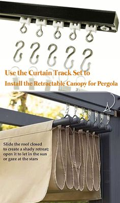 pergola garten Another method is to use the CURTAIN TRACK SET to install the retractable canopy Outdoor Shade, Patio Shade, Shade Canopy, Backyard Pergola, Small Pergola, Outdoor Pergola, Small Patio, Deck Landscaping, Wood Pergola