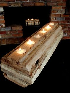 Candle log out of old pallet wood to replace the candle log in fire place.