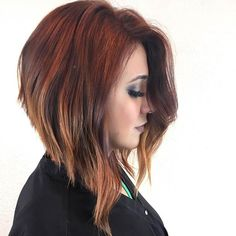 Angled Long Bob Haircut and Red Balayage Colourmelt