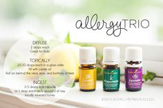 "20 drops each lemon, lavender, peppermint, and copaiba, plus an equal amount of carrier (coconut oil, olive oil, etc), in a roll on. Applied to the back of the neck and feet! Lemon, Lavender, and Peppermint are known as the ""allergy trio"" and are included in the Premium Kit. https://www.youngliving.com/signup/?isoCountryCode=US&sponsorid=1312124&enrollerid=1312124"