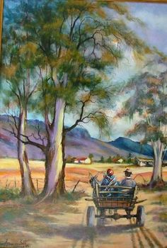 Farm Paintings, African Art Paintings, Bright Paintings, Beautiful Paintings, Landscape Pictures, Landscape Art, Landscape Paintings, Canvas Painting Projects, South African Art
