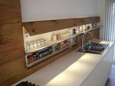 Скрытая ниша для минималистической кухни