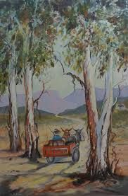 trees on both sides Donkey, Trees, Painting, Artworks, Tree Structure, Painting Art, Paintings, Wood, Painted Canvas