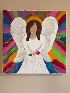 Acrylic painting on canvas by Lisa Fontaine.  Palette knife.  Abstract.  Angel.