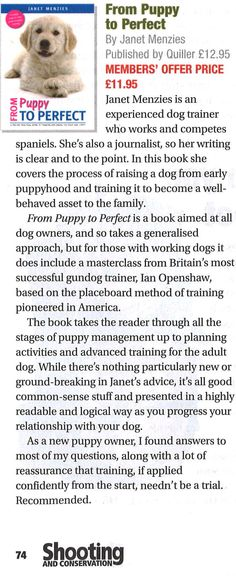 BASC have reviewed From Puppy To Perfect in their latest shooting and conservation magazine #puppytoperfect #perfectpuppy #mansbestfriend #review #dogs #puppy #training