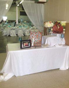 Wishwik Multi Wedding Tree Canvas | Guest Book Alternative | Modern Wedding | Customer Photo | Wedding Colors - Blue & Pink | peachwik.com