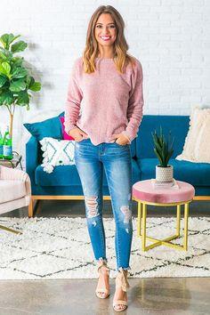 dd300d1f46 Colorado Cabin Chenille Sweater in Blush. Impressions Online Boutique