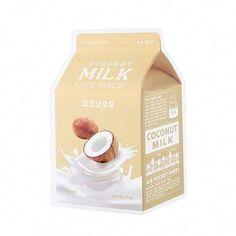 A'pieu Coconut (White) Milk One-Pack #CharcoalMask Moisturizing Face Mask, Hydrating Mask, Face Care, Skin Care, Coco Nucifera, Aloe Vera Face Mask, Cleansing Mask, Milk Protein, Charcoal Mask