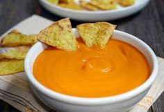 """This sweet potato nacho """"cheese"""" dip is a dairy-free """"cheese"""" that also happens to be nut-free and gluten-free. It actually tastes like cheese! Dairy Free Recipes, Whole Food Recipes, Vegan Recipes, Cooking Recipes, Gluten Free, Paleo Meals, Vegan Ideas, Paleo Food, Healthy Food"""
