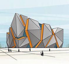 Art & Architecture o Conceptual Architecture, Architecture Concept Drawings, Architecture Sketchbook, Futuristic Architecture, Architecture Portfolio, Office Building Architecture, Facade Architecture, Building Design, Architectural Section