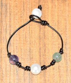 Pearl and Leather Bracelet/Pearl and Fluorite by BonafideBeads