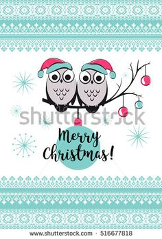 Template vector card with cute owls on a tree branch. Merry Christmas card with snowlake, balls and text. Happy New year illustration. New Years winter background with holiday ornament.