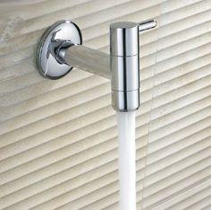 Chrome Surface Wall Mount Washing Machine Tap Soild Brass Cold Water Mop Tap