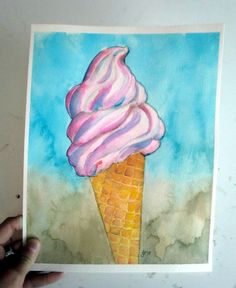 Pink Soft Serve Ice Cream Cone Watercolor Painting - Sweet Summer Dessert Art - Food Illustration - Original Art, 8x10 This is an original painting of a classic soft serve strawberry ice cream cone, against a beachy background. Painting done on 140lb. Cold Pressed Arches Watercolor Paper. This painting measures 8x10 inches. Comes unmatted and unframed. Will be shipped in protective sleeve and cardboard mailer. One of a kind, hand drawn and painted. This is an original illustration, NOT a…