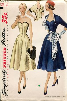 Simplicity 3512 Vintage+50s+Misses+Sewing+Pattern+Strapless+by+retromonkeys,+$75.00