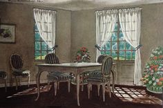 """Magnaverde--""""The Dining Room in Grayish White"""" by Pierre Brissaud, published in House & Garden Magazine, 1934"""