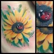 Image result for sunflower tattoo with ladybug