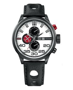 Tommy Hilfiger Watch, Men's Black Leather Watch