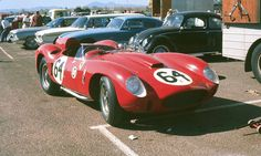 """Richie Ginther -- Ferrari 412 MI (2) Pete Lovely was originally slated to drive this car (#0744) in the 1960 L.A. Times GP while Richie Ginther was entered in #0672, the famous Ferrari """"hot rod"""": one of John von Neumann's 625-TRC cars converted to V12 power."""
