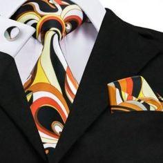 Black Yellow Orange Mens Ties Handkerchief Cufflinks Fashion Print Neck Tie Set on Sale Gravatas Silk Ties for Men Suits Paisley Tie, Paisley Color, Novelty Ties, Cufflink Set, Mens Silk Ties, Tuxedo For Men, Wedding Ties, Ties, Paisajes