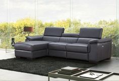 J&M Allegra Contemporary Premium Dark Grey Italian Leather Sectional Sofa Left Hand Facing (SKU18205-LHC) Buy online! Acme Furniture, Outdoor Furniture Sets, Modern Furniture, Grey Sectional, Reclining Sectional, Large Sectional, Sectional Furniture, Wood Frame Construction, Architecture