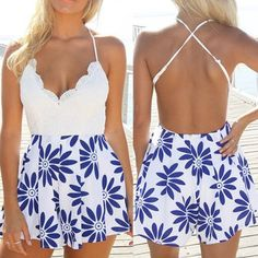 Sexy V-Neck Sleeveless Printed Open Back Women's Romper Jumpsuits & Rompers | RoseGal.com Mobile