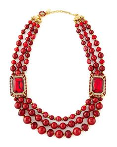 Beaded Ornamental Necklace, Red by Jose & Maria Barrera at Neiman Marcus.