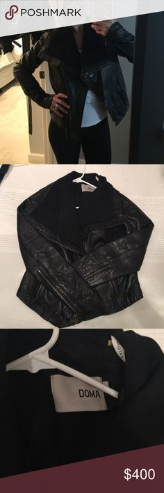 """DOMA Leather Jacket Practically brand new. Worn once or twice for a short time. Labeled large, but I'm an XS, S and it fits me almost fine. The sleeves are just a little long for me. I'm 4'11"""". If that helps. I still have all the original tags. DOMA Jackets & Coats"""