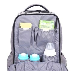 Lekebaby High Capacity Diaper Bag Backpack with Stroller Straps and Changing Mat Included (Grey)