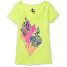 Get psychedelic style with the neon green Litterstone tee shirt from Volcom Girl. This lightweight cotton tee features short cap sleeves, a wide V-neckline, slim fit, and a pink and purple trippy Volcom Stone graphic at the front. Wear the Litterstone neon green graphic tee with cut-off shorts and flip flops for a fun casual look for summer.