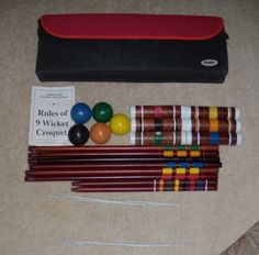Franklin 9 Wicket Croquet Set Six Mallets Soft Canvas Carry ing Case   eBay