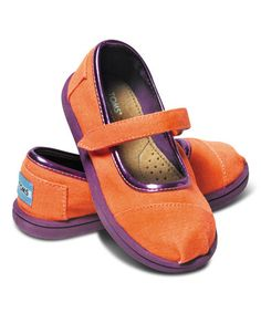 Neon Orange Canvas Mary Jane Classics - Tiny by TOMS http://www.zulily.com/invite/swildt193?tid=RetEm_Link