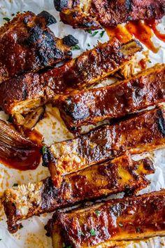 "Nana's Fall-Off-The-Bone Ribs and ""Barb""-ecue Sauce - The Food Charlatan Rib Recipes, Grilling Recipes, Cooking Recipes, Cooking Ribs, Game Recipes, Cooking Steak, Smoker Recipes, Spicy Recipes, Pressure Cooking"