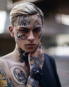 32df3c764 Cool face tattoo for young boy Model @laviedekirill Cool Face Tattoos,  Unique Tattoos,