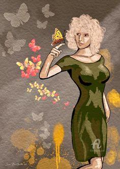 NOK337.02 · Digital Arts, Digital Painting by Svein Ove Hareide (Norway). Prints available from NOK337.02 via #Artmajeur. Licenses available from NOK313 via #Artmajeur. #Digital Arts #DigitalPainting #ConceptualArt #Women #Girl #Butterflies #Pretty