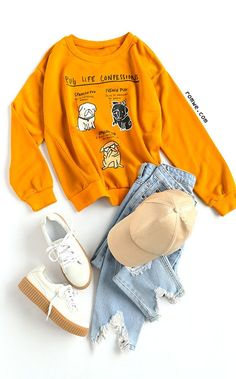 Yellow Dog Print Drop Shoulder Sweatshirt is part of Cute outfits - Teen Fashion Outfits, Trendy Outfits, Winter Outfits, Fashion Clothes, Tween Fashion, Fashion Games, Girl Fashion, Summer Outfits, Jugend Mode Outfits