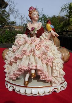 Dresden   Germany statue LARGE  lace Victorian  figurine  Parrot bird