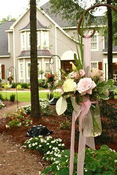 Walkway to the wedding reception held in the bride's backyard