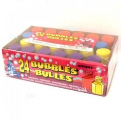 24 Assorted Colour Party Bubbles    These bubbles are ideal party bag fillers.    Includes Red, Blue, Yellow + Purple Bottles    Each bubble pot contains 17.7ml of bubble liquid, and the bubble wand is attached to the lid.    Each bottle approx 5cm in height    Ages 3+