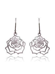 Silver Flower Earrings  Shop Delicate Rose Earrings UK