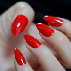 Christmas Fake Nails Women Gift Girl Ladye Natural Color Fancy Look Fashion Tool Bright Red Nails, Funky Nails, Glamour Shop, Red Stilettos, Nail Length, How To Clean Makeup Brushes, Nail Sizes, Chrome Nails, Artificial Nails