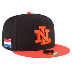 9a4899a3a06 Men s Netherlands Baseball New Era Black Orange 2017 World Baseball Classic  59FIFTY Fitted Hat